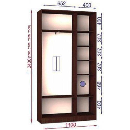 Двухдверный шкаф-купе Матролюкс Стандарт-1 1100х450х2000